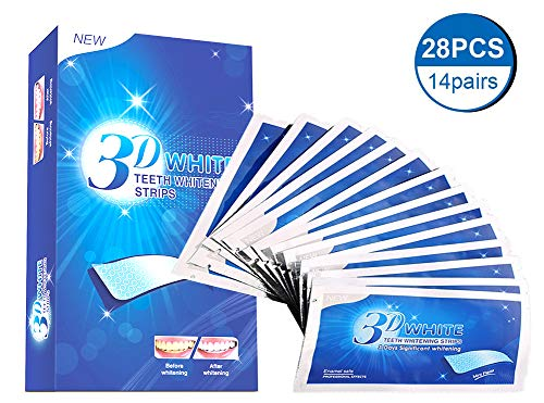 (Teeth Whitening Strips, 3D White Whitestrips for Gum Health and Refresh Breath, Dental Whitener Kit Elastic Gels for Teeth Stain Removal - Treatments for Teeth Care 28 pcs)