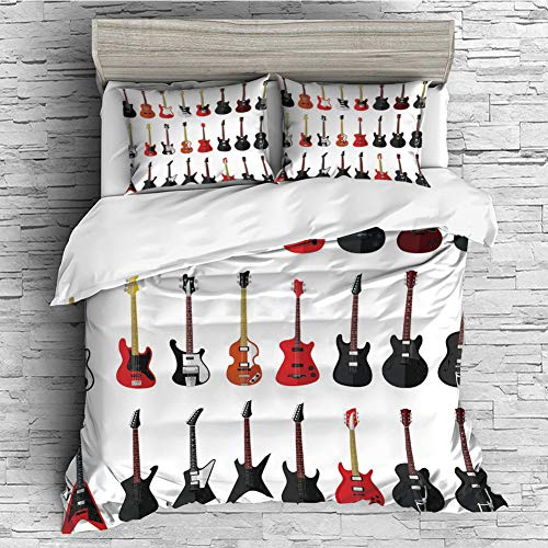 4 Pcs 3D Printed Young Bedding Collections Lightweight, Hypoallergenic(Singe Size) Guitar,Musical Instruments Set Pattern with Various Acoustic Bass Making Music Decorative,Vermilion Black White