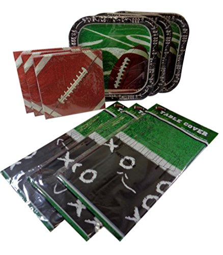 (Party Pack Football Paper Plates (42), Paper Napkins (60) & Plastic Tablecovers)