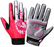 DuShow Women Pink Mountain Bike Bicycle Glove Cycling Fingerless Gloves Road Racing Gloves GEL Breathable Anti