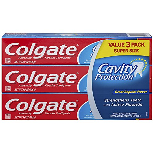 Colgate Cavity Protection Toothpaste with Fluoride – 8 ounce, 3 Count