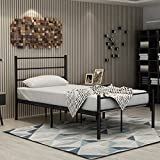 Best Spring Mattresses With Square Corners - Metal Bed Twin Size,With Headboard and Footboard/Mattress foundation/Box Review