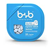 b+b Naproxen Sodium Caplets | ALL DAY PAIN RELIEF- lasts up to 12 hours | Pain Reliever + Fever Reducer | NSAID | 220mg | 50 Count Bottle