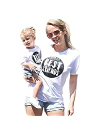 Franterd Mommy & Me Mom & Baby Parent-Child Letter T Shirt Family Matching Clothes Outfits