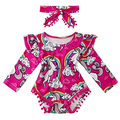 Kids4ever Baby Girl 2 Pieces Romper Headband Long Sleeve Onesie Unicorn Ruffle Sleeve Bodysuit