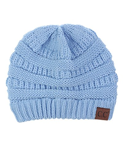 C.C Trendy Warm Chunky Soft Stretch Cable Knit Beanie Skully, Pale Blue ()