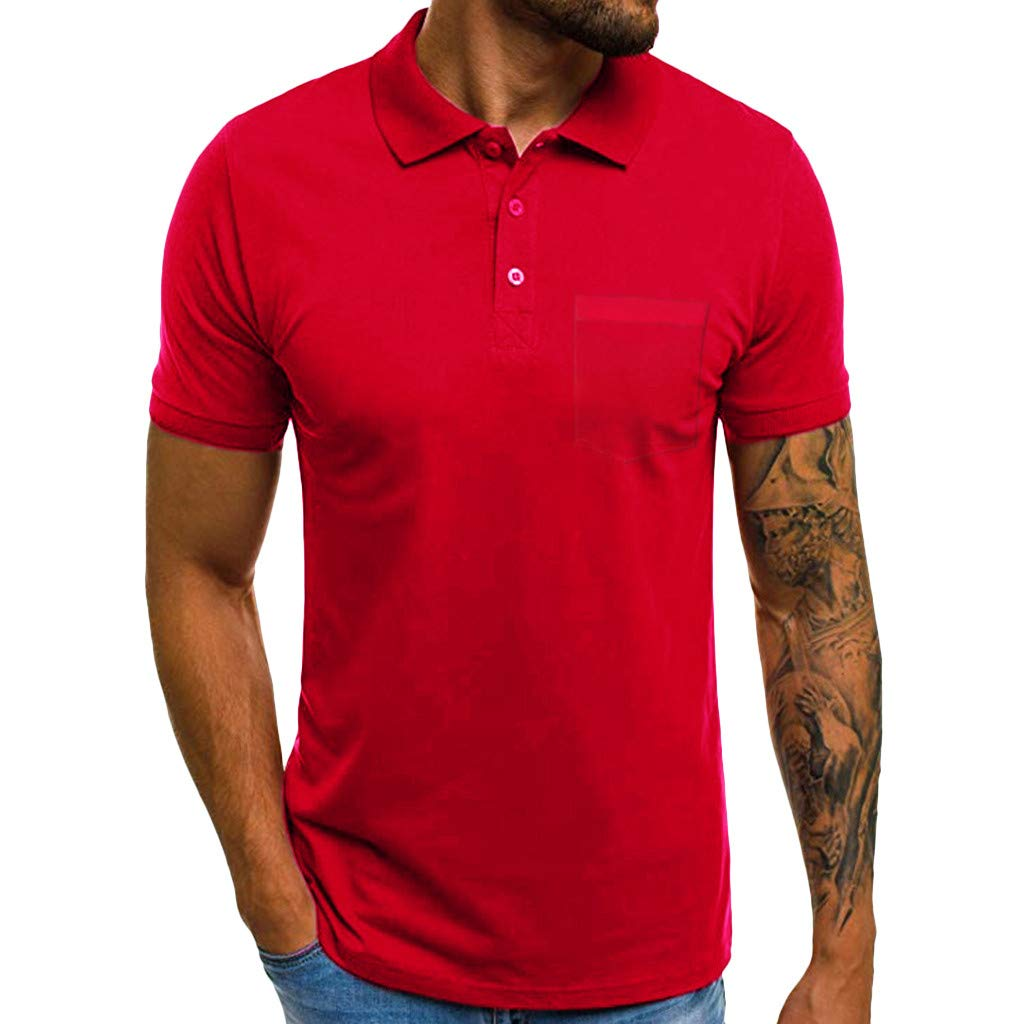 Sunyastor Personality Tee Mens Summer Casual Slim Short Sleeve Pockets Polo T-Shirt Standing Collar Muscle Top Blouse