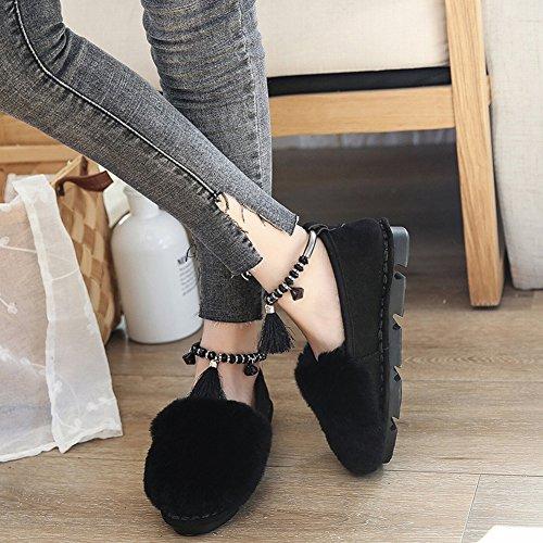 Chaussures de Chaussures de Fard à Joues de Chaussure de Chaussure D'Étudiant de Chaussure de Chaussures de Chaussure D'Étudiant avec de Fines Chaussures de Coton de Cachemire , noir , 37 EUR