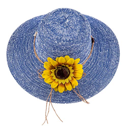Women Beach Hat, Laddies Wide Brim Sun Hat, Church Derby Hat with Flora Decor -