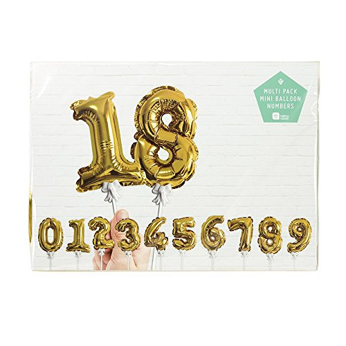 Talking Tables Party Time Gold Foil Number Balloon Cake Toppers for a Birthday or Anniversary, Gold (12 Pack) ()