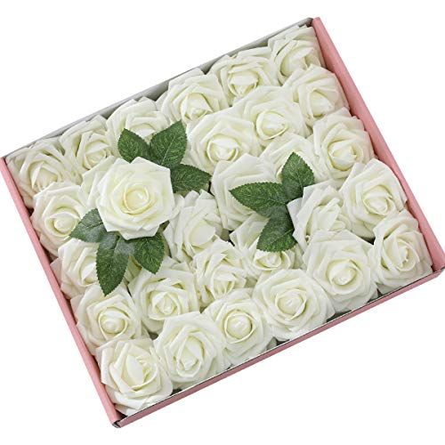 DerBlue 60pcs Artificial Roses Flowers Real Looking Fake Roses Artificial Foam Roses Decoration DIY for Wedding Bouquets,Arrangements Party Baby Shower Home Decorations-with Green Leaves(Cream White)