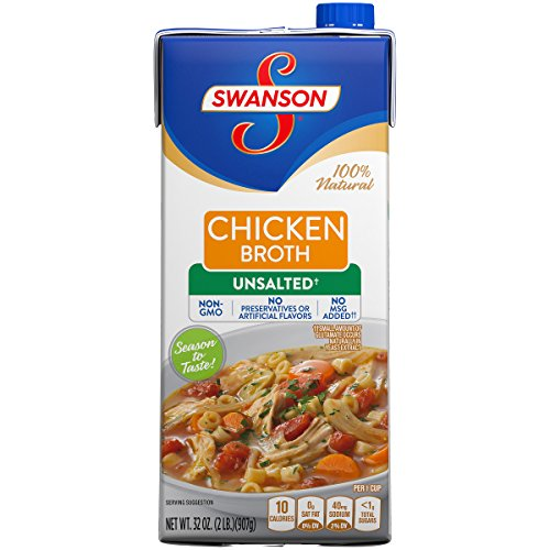 Swanson Unsalted Chicken Broth, 32 oz.  (Pack of 12) - Free Range Chicken Broth Soup