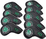 SM SunniMix Golf Iron Head Covers Lucky 9pcs Golf Club Protector Wrap Golf Accessories PU Golf Iron Covers Set
