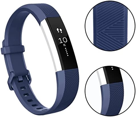 Tobfit 4 Pack Bands Compatible with Fitbit Alta/Alta HR Bands, Soft Sport Silicone Replacement Wristbands for Women Men (Small, Blue/Rose Gold/Silver/Gray) 3