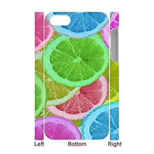 3D iPhone 4/4s Case,Abstract Colorful Lemon slices Hard Shell Back Case for White iPhone 4/4s