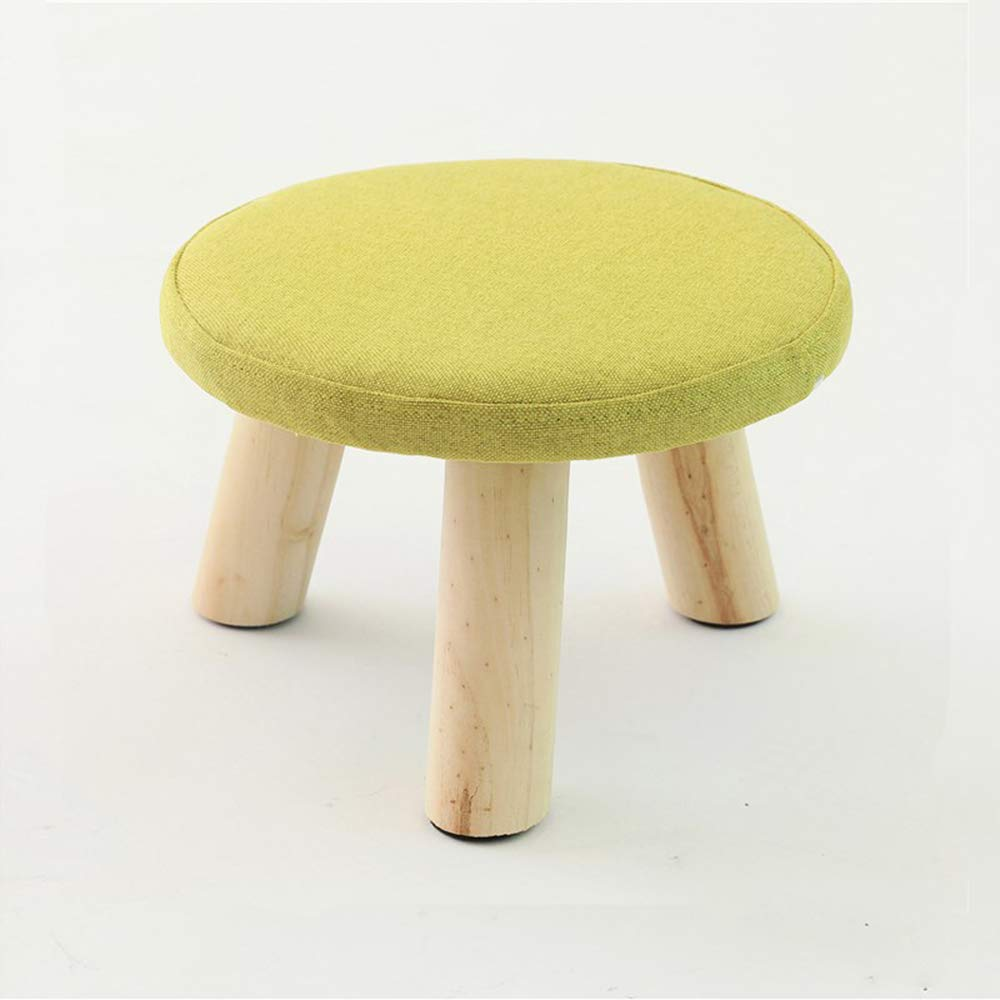 Decdeal Ottoman Foot Stool Round Cotton Solid Wood Footstool with Removable Cover