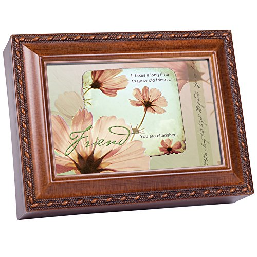 Cottage Garden Old Friends Friendship Faux Woodgrain Music Jewelry Box Plays That's What Friends are for