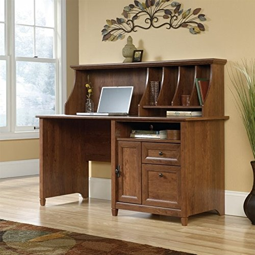 Sauder Edge Water Computer Desk with Hutch in Auburn - Sauder Computer Furniture Armoire Office