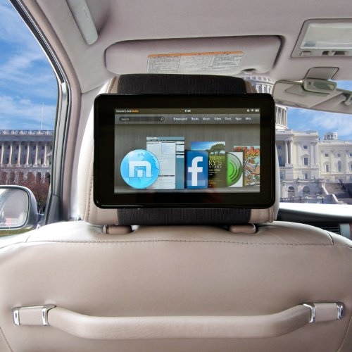 TFY Car Headrest Mount for Kindle Fire,Fast-Attach Fast-Release Edition, Black (does not fit Kindle Fire HD)