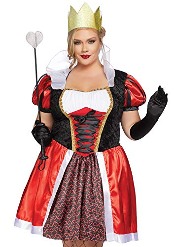 Disney Queen Of Hearts Halloween Costume (Leg Avenue Women's Plus Size Wonderland Queen Costume, Red/Black, 3X/)