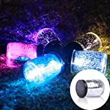 GESIMEI Outdoor Waterproof LED Flashing Mason Jar Night Lamp Solar Star Fairy Lights for Christmas Home Party Decor Birthday Gifts Colorful