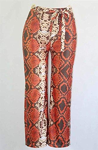 Inclusa Donne Pantaloni Autunno Casuale High Accogliente Waist Larghi Donna Baggy Primaverile Schlangenmuster Dritti Rot Cintura Moda Pantaloni Baggy Pantaloni Pantaloni Stampate Eleganti zrAzOwq