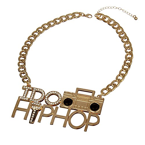 Punk Style I DO HIP HOP Tape Recorder Microphone Necklace for Costume Party Rhinestone Alloy Heavy Chunky DJ Jewelry (Gold