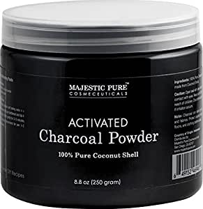 Activated Charcoal Powder from Majestic Pure, from 100% Pure Coconut Shells, 8.8 oz
