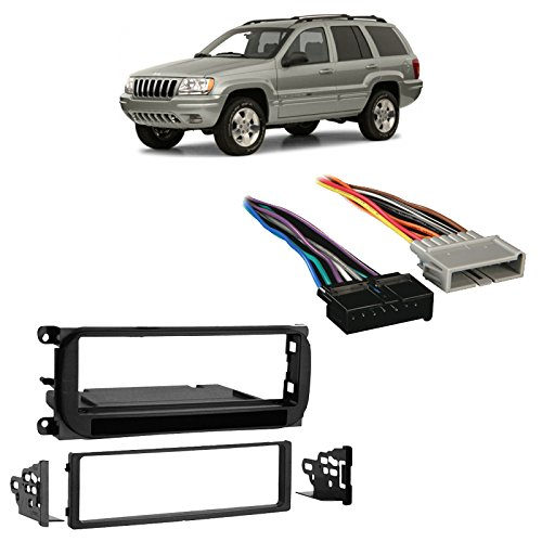 Fits Jeep Grand Cherokee 1999-2001 Single DIN Harness Radio Install Dash Kit - Jeep Cherokee Single