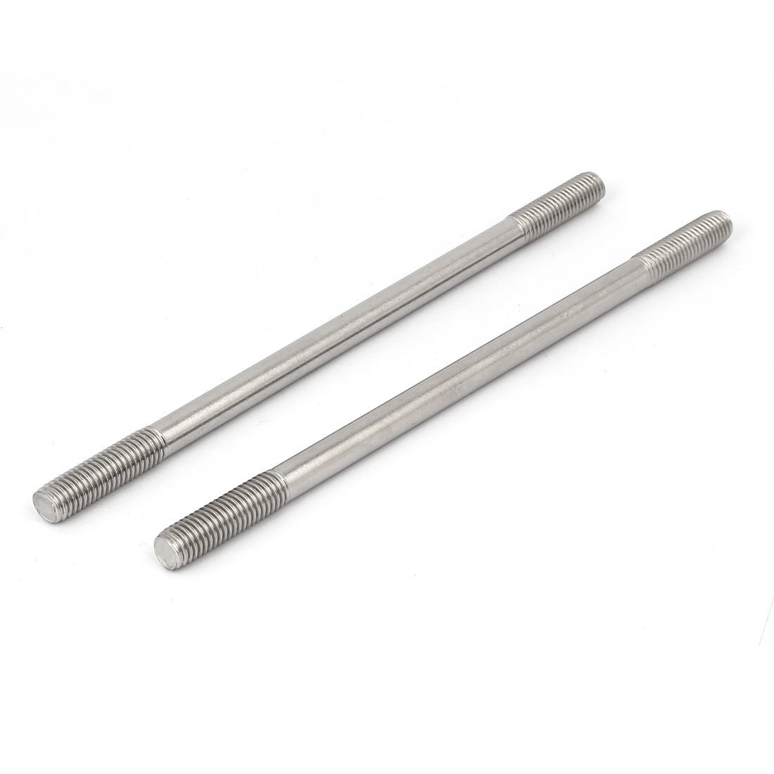 M10x200mm Double End Thread Stainless Steel 304 Tight Push Rod Adjustable Stud 5pcs