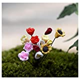 #2: YEDREAM Miniature Fairy Garden Artificial Flowers Mini Plastic Fake Rose, Tulips, Sunflower, Small daisy, Calla lily Micro Landscape Home Garden Decoration Plant Pots Bonsai Craft Decor (14PCS)