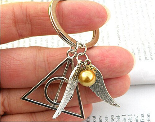 Golden Snitch and Deathly Hollows Key Chain, Silvery Harry Potter Key Chain Joyplancrafts KC-04
