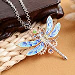Steampunk Gear Diamond Color Dragonfly Necklace Alloy Chain Colorful Dragonfly Shaped Rock Gear Steampunk Pendant Necklace Choker Unisex 1Pcs 7