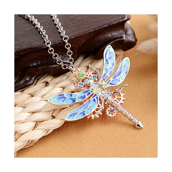 Steampunk Gear Diamond Color Dragonfly Necklace Alloy Chain Colorful Dragonfly Shaped Rock Gear Steampunk Pendant Necklace Choker Unisex 1Pcs 4