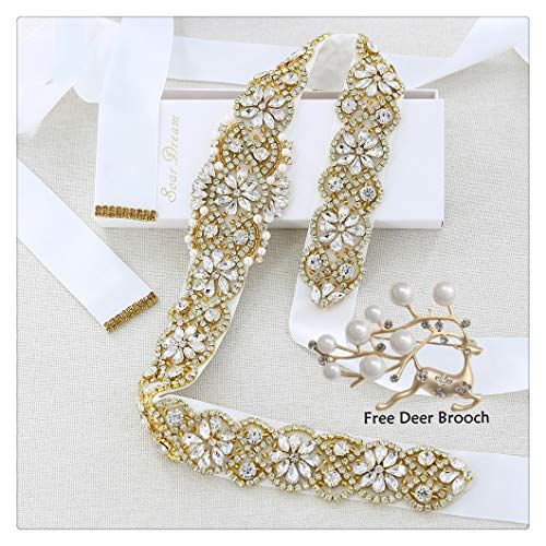 (White Bridal Belt and A Wedding Brooch Whith Gold Rhinestone Applique Pearls for Wedding Prom Dress)