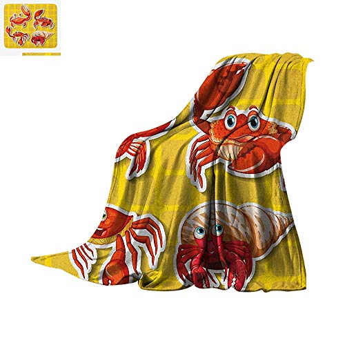 Crabs Throw Blanket Stickers of Four Different Crabs Illustration in Cartoon Style Print Print Artwork Image 60