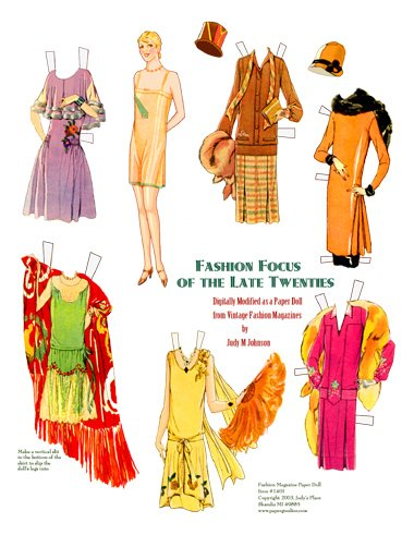 3 Paper Doll Prints, Fashions of teens and 20s