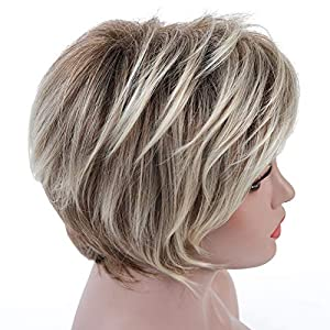 Rosa Star Short Wig Ombre Brown Mixed Blonde Hair Wigs Natural Curly with Bangs Synthetic Hair Fibers Heat Resistant…
