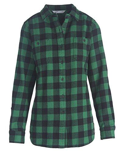 Woolrich Buffalo Check (Woolrich Women's Buffalo Check Flannel Shirt, Green Buffalo (Green), Size S)
