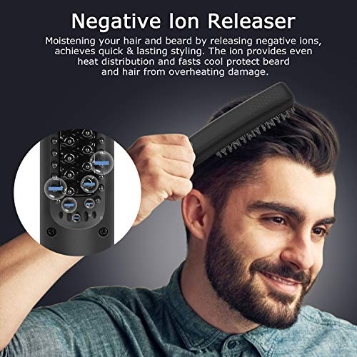 Beard Straightener,Hair Straightener Brush Electric Beard Straightening Heated Comb,Unique Styling Grooming Gifts for Men Women Him(Gray)