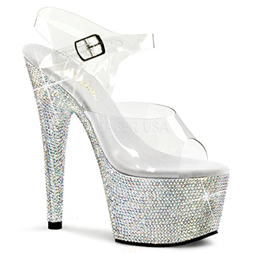 (Pleaser Women's Bejeweled-708DM/C/SMCRS Platform Sandal,Clear/Silver Multi,8 M US)