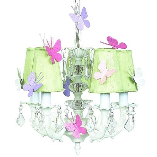 - Jubilee Collection 7037-6511-Butterfly 5 Arm Stacked Glass Ball White Chandelier with Plain Green Sconce Shade and Magnets