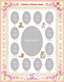 11 x 14 Personalized Baby Pink Girl Ribbon Yellow Border My First Year Photo Mat with Teddy Bear Illustration