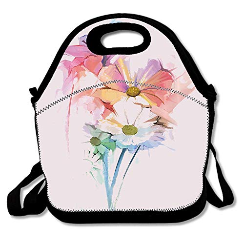 Daisy Bouquet with Hazy Psychedelic Effects Foliage Lily Symbol Waterproof Reusable Lunch Bags For Men Women Adults Kids Toddler Nurses With Adjustable Shoulder Strap