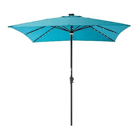 C-Hopetree Solar Power LED Light Outdoor Patio Market Umbrella 7 6 Square with Crank Winder Aqua Blue