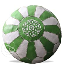 Green and white Leather Pouf