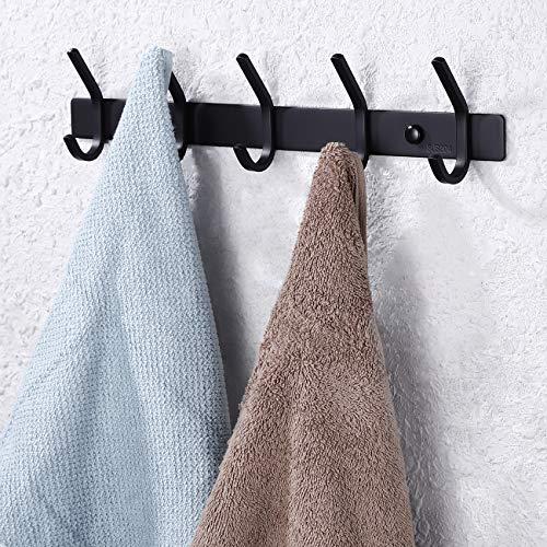 KES Coat Hooks Towel Hook Rack with 5 Robe Hangers Coat Holder Wall Mount SUS 304 Stainless Steel Bathroom Matt Black, - Towel Rack Hook