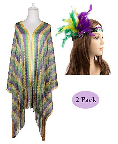 (JAWEAVER Mardi Gras Scarf For Women Girls Purple Green Gold Accessories)