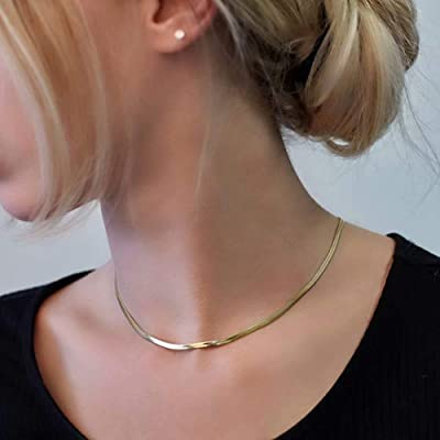 Flat Snake Choker Silver Necklace Flat Snake Chain Silver Necklace Gift for Her