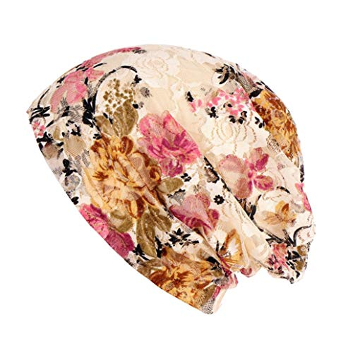 (Suma-ma 3 Colors Flower Lace Headdress-Stretch Turban Hat Loss Scarf(Beige,Black,Blue))